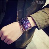 韓版led合金手鏈錶男個性時尚簡約韓版學生創意新概念熔巖電子錶 俏女孩