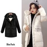 【藍色巴黎】 連帽內鋪保暖羊羔毛羽絨外套 大衣 風衣外套【29032】