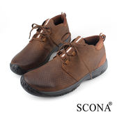 SCONA 蘇格南 全真皮 輕量彈力綁帶休閒鞋 咖啡色 1257-2