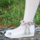 古風鞋純白色配漢服老北京布鞋繫帶平底坡跟刺繡花舞蹈鞋子女cos【交換禮物】