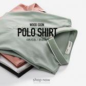 WOOODSOON夏季短袖男T恤半袖翻領保羅衫純色夏天男士潮牌polo衫潮