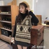 毛衣背心 針織馬甲女秋季新款韓版寬鬆百搭V領套頭外穿學院風毛衣背心外套 樂芙美鞋