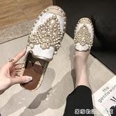 包頭半拖鞋女奶奶平底夏新款百搭韓版無後跟懶人涼拖外穿穆勒