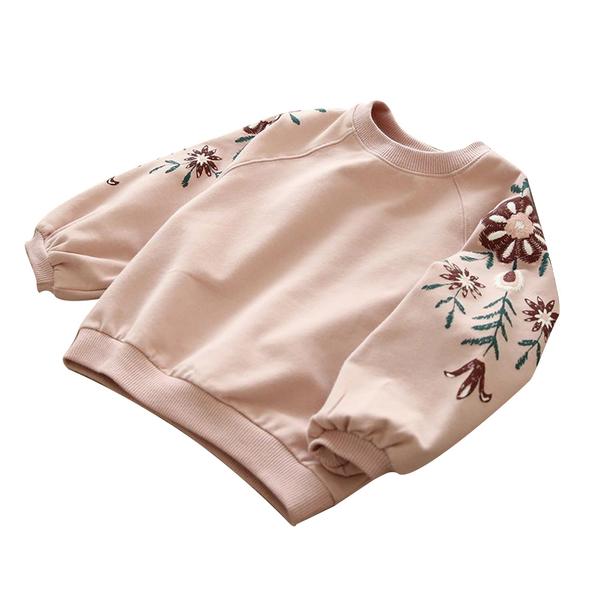 童裝 長袖上衣 秋款韓版 花朵刺繡套頭衛衣 帽T  小童 中大童 女童 88227