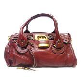 【特價40%OFF】Chloe 暗紅色牛皮手提包 鎖頭包 Paddington Bag【二手名牌 BRAND OFF】