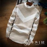 長袖毛衣男裝修身圓領針織衫秋季上衣韓版男士衛衣潮流線衣打底衫