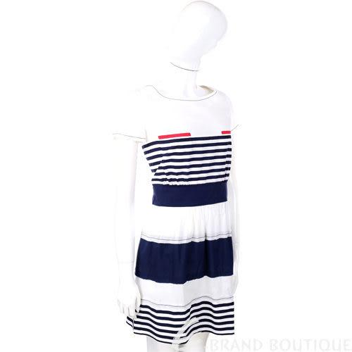PHILOSOPHY 白色海軍風條紋短袖洋裝 1210337-20