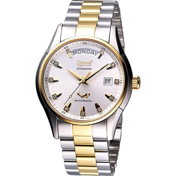 Ogival 愛其華 風華真鑽Day-Date 機械腕錶-半金/40mm 3357AJMSK