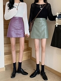 皮裙 春裝新款女韓版時尚百搭高腰PU皮A字短裙顯瘦包臀半身裙子【快速出貨】