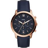 FOSSIL NEUTRA 時尚流行計時手錶-藍x玫塊金框/44mm FS5454