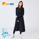 UV100 防曬 抗UV-涼感加長版口罩連帽外套-長帽簷款-女