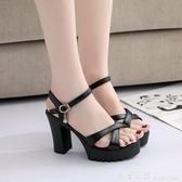 2020新款夏季女涼鞋時尚歐美英倫風高跟涼鞋粗跟一字帶扣露趾百搭