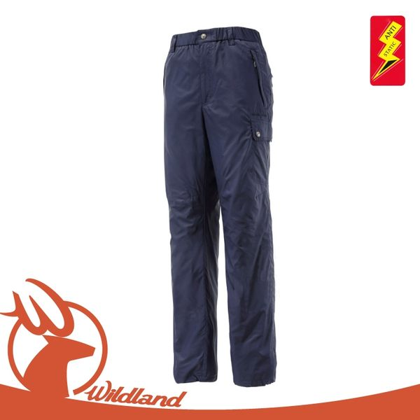 【Wildland 荒野 男 鬆緊帶輕量保暖褲《深藍》】0A12336/抗靜電/抗菌抑臭/刷毛