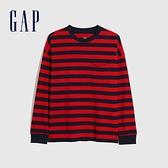 Gap男裝 基本款圓領厚磅休閒長袖T恤 660825-紅藍條紋