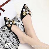 中跟半拖鞋  包頭花朵半拖女時尚外穿韓版粗跟中跟涼拖鞋尖頭女鞋 『歐韓流行館』