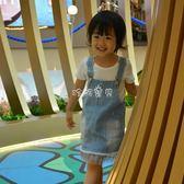 女童牛仔裙 純棉女童背帶裙水洗牛仔拼紗薄款兒童套裝洋裝 珍妮寶貝