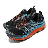 Asics 越野跑鞋 Trabuco Max 男 黑 橘 藍 抽繩設計 厚底 運動鞋【ACS】 1011B028003