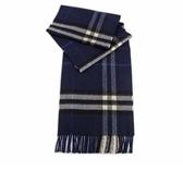 【BURBERRY】基本款經典格紋喀什米爾圍巾(藍色) 8015540 A1503