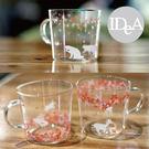 IDEA 和風櫻花動物系列手工玻璃杯 夏天清涼透明 貓 鹿 兔 創意早餐茶水牛奶果汁冰塊飲料 300ml