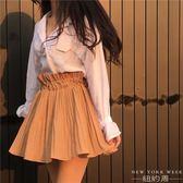 褲裙 港味  荷葉邊高腰百褶松緊腰半身裙