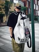 篮球袋 潮牌工裝繡章斜挎雙肩多功能背包袋男大學生旅行運動大容量籃球包 城市科技