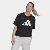 Adidas W ST LOGO TEE 女款黑色休閒短袖上衣-NO.GL9477