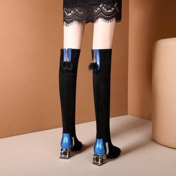 膝上靴 過膝靴女長筒靴高跟彈力靴女2020秋冬新款顯瘦粗跟長靴女時尚女靴