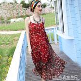 V領中長款度假沙灘裙女寬鬆大碼洋裝顯瘦小性感碎花吊帶裙 水晶鞋坊