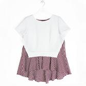 【SHOWCASE】假二件細格紋寬襬俏麗造型上衣(紅)