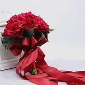 尾牙鉅惠婚禮花束 仿真新娘手捧花中國風式婚禮拍道束結婚白紅玫瑰滿天星YYS 珍妮寶貝