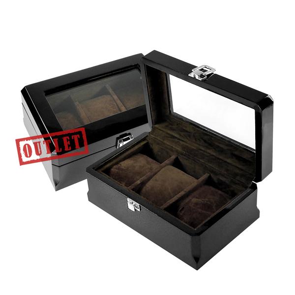 展示福利品8折↘手錶收藏盒 配件收納 3入腕錶收藏盒 鋼琴烤漆 - 深駝色x黑 #842-MQ-1001-2-defect