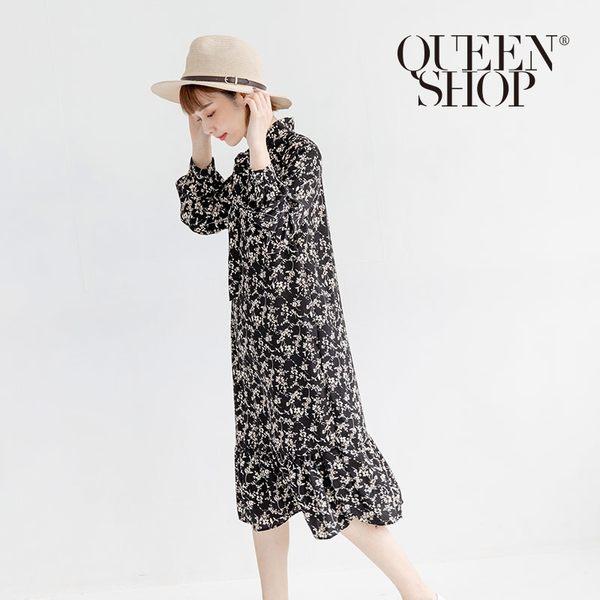 Queen Shop【01084418】小碎花綁結設計魚尾洋裝 兩色售*現+預*