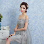 新年大促 伴娘服短款2018新款韓式伴娘團禮服菸灰色小禮服姐妹裙畢業晚禮服