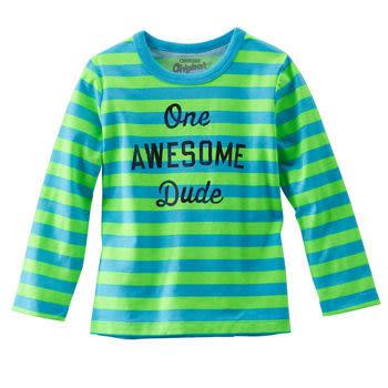OshKosh長袖上衣 綠藍條紋AWESOME經典款T恤 3T (Final sale)