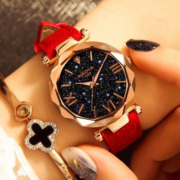 女士手錶防水時尚新品新款韓式簡約休閒大氣復古夜光星空石英流行女錶 最後一天85折