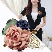 胸針別針山茶花胸針韓版布藝花朵復古配飾胸花別針  果果輕時尚