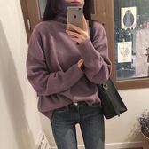 針織衣冬季韓國CHIC復古寬松長袖高領毛衣女基礎百搭純色針織衫學生上衣