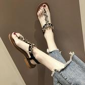 涼鞋女2021夏季新款百搭人字夾腳趾水鉆串珠平底仙女風沙灘羅馬鞋『潮流世家』