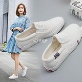 春季新小白鞋女帆布鞋女鞋懶人一腳蹬套腳百搭透氣平底休閒鞋