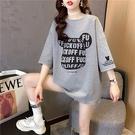 短袖上衣實拍1510#35棉韓版中長款寬松大碼短袖T恤女印花NE416 韓依紡