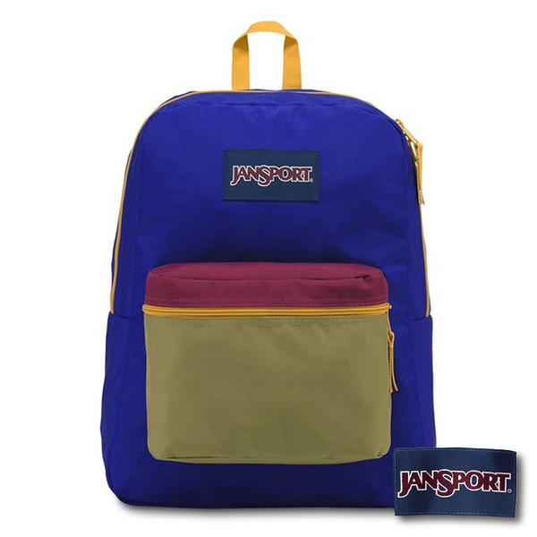 【JANSPORT】EXPOSED 後背包-藍/芥末黃(JS-43933)
