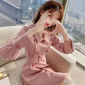 洋裝 秋款小個子長袖連身裙2021年新款女裝小香風中長款收腰顯瘦a字裙