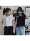 POLO衫青薔薇POLO領短袖T恤女短款2020年夏裝新款彩虹高腰學生百搭上衣 小天使