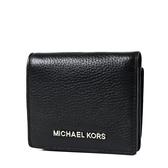 美國正品 MICHAEL KORS 銀字荔枝紋釦式對折短夾-黑色 【現貨】