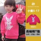 玫紅色縮口長袖棉T恤 兔子圖案[13359] RQ POLO 小女童 秋冬童裝 5-17碼 現貨
