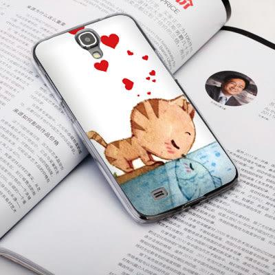 Samsung Galaxy J N075T 手機殼 硬殼 兩個世界 貓戀魚