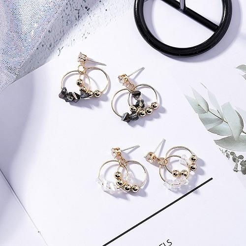 【NiNi Me】韓系耳環 925銀針氣質甜美水鑽水晶小圓圈耳針 耳環 N0354