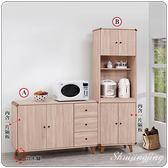 【水晶晶家具/傢俱首選】柏克4呎鋼刷耐磨木心板餐碗櫃(左圖A款)SB8333-1