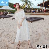 【V9084】shiny藍格子-純淨清新.波西米亞沙灘度假洋裝連身長裙