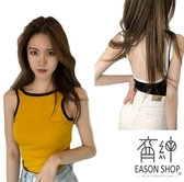 EASON SHOP(GW6647)韓版撞色拼圓弧大露背短版露肚臍無袖圓領背心女上衣服彈力貼身內搭閨蜜裝
